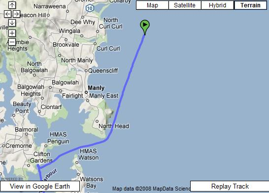 Trip from the Coolooli to Rose Bay Wharf plotted on a map